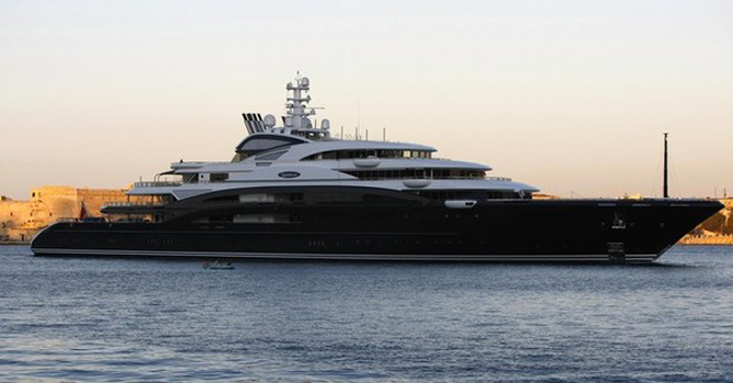 The 134 metre-long super yacht Serene owned by Russian tycoon Vladimir Potanin arrives in Valletta's Grand Harbour